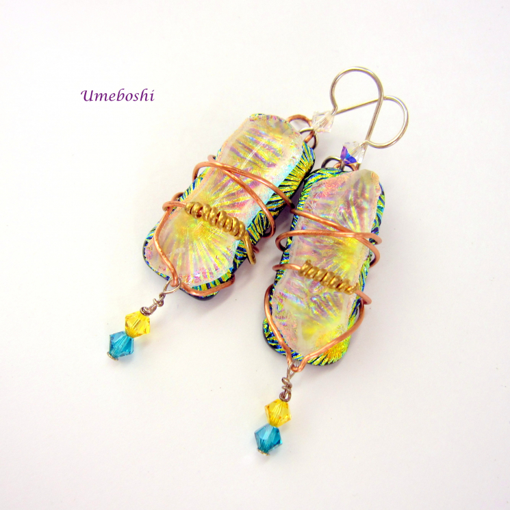 Unique Copper and Brass Wire Wrapped Dichroic Glass Earrings