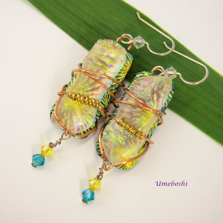 Handmade Dichroic Glass Wire Wrapped Dangle Earrings