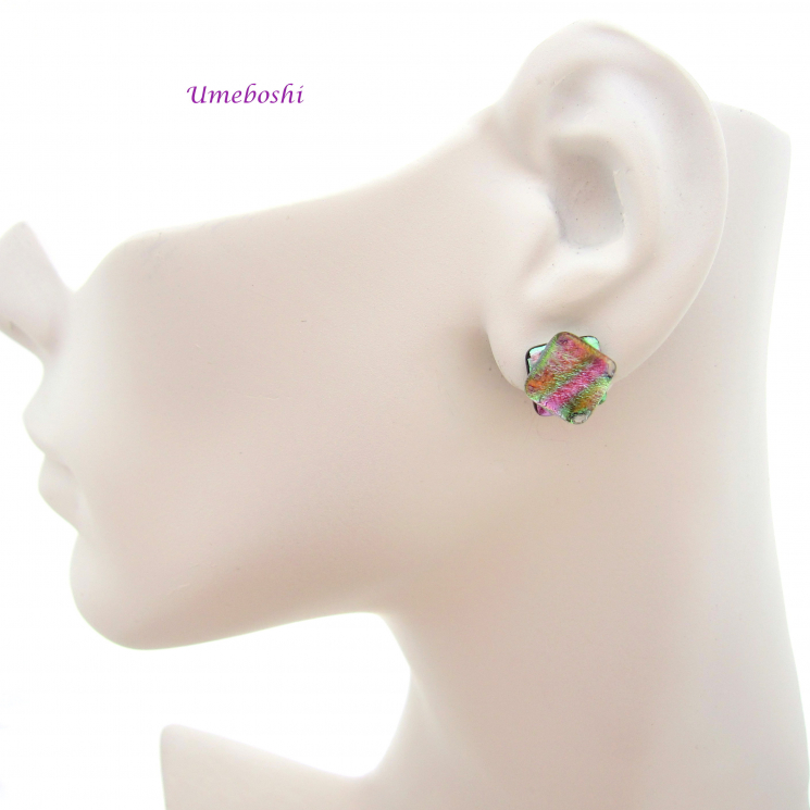 beautiful pastel rainbow dichroic glass stud earrings by Umeboshi