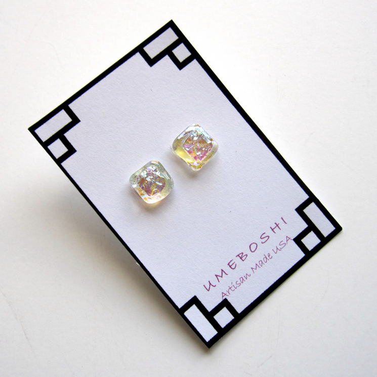 Iridescent Square Dichroic Glass Stud Earrings