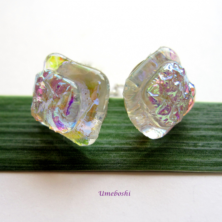 Stunning Irridescent Square Dichroic Glass Post Earrings in Rainbow Colors