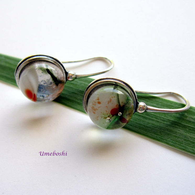 Handmade Fused Glass Dangle Earrings One-of-a-Kind