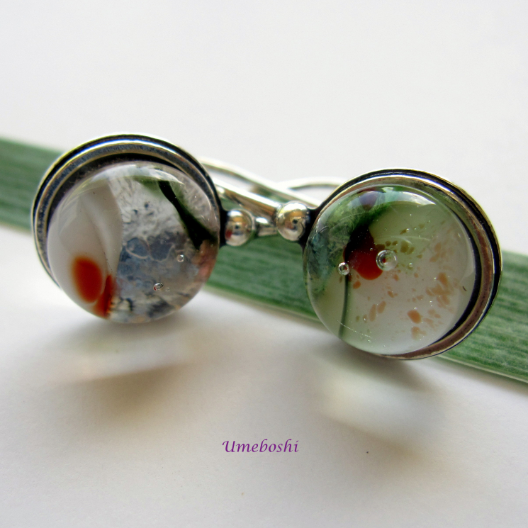 Red, Green, Silver and White Handmade Glass Earrings
