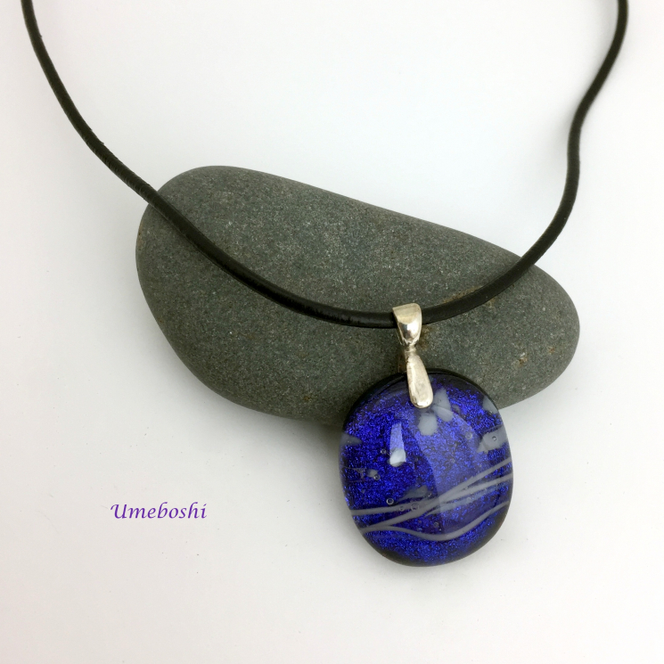 Dichroic glass necklace pendant