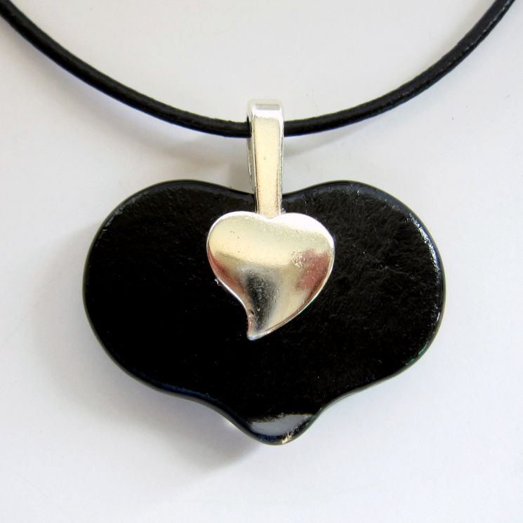 Pendant Back Showing the Silver Plated Heart Bail
