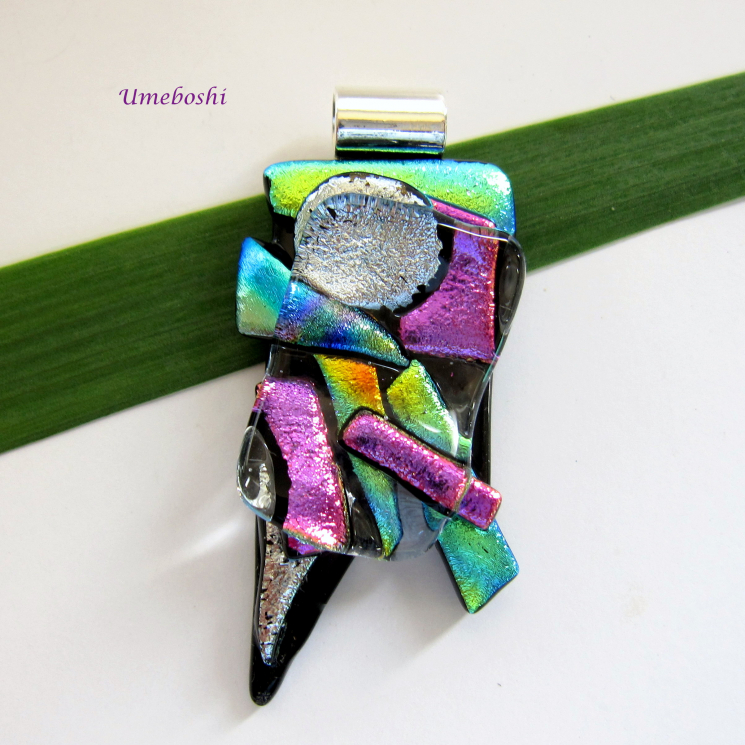 Handmade Dichroic Glass Pendant by Umeboshi Jewelry Designs