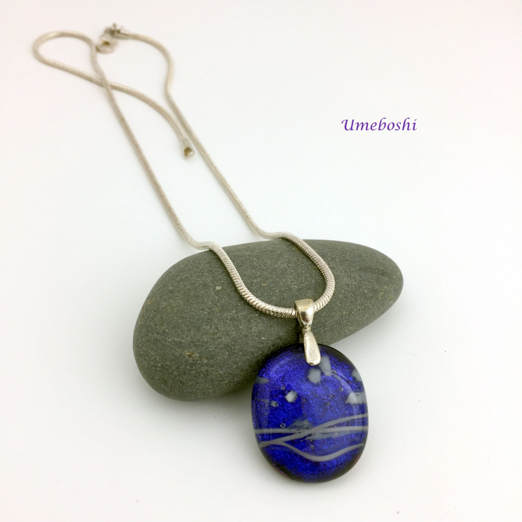Blueberry dichroic glass pendant