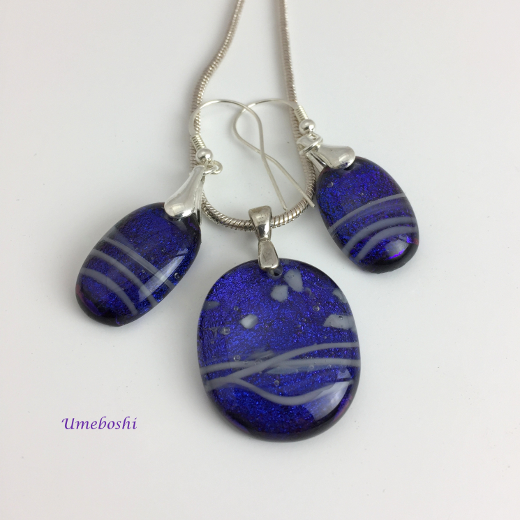 Sparkling Blueberry Wave Handmade Dichroic Glass Jewelry Set