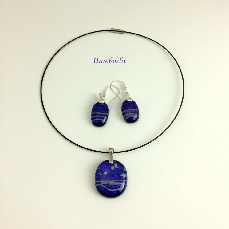 Blueberry dichroic glass jewelry set OOAK
