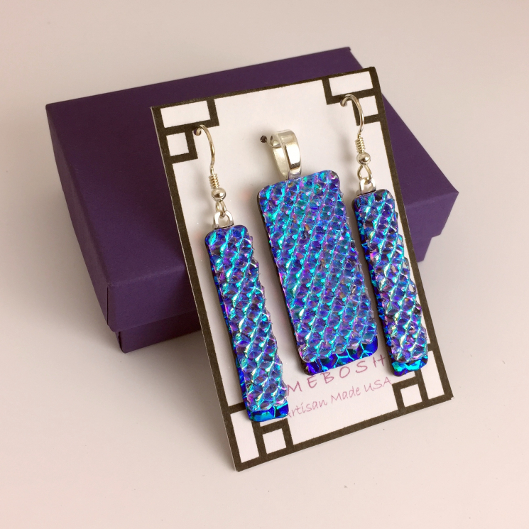 Caribbean Sparkles Dichroic Glass Pendant and Dangle Earring Set