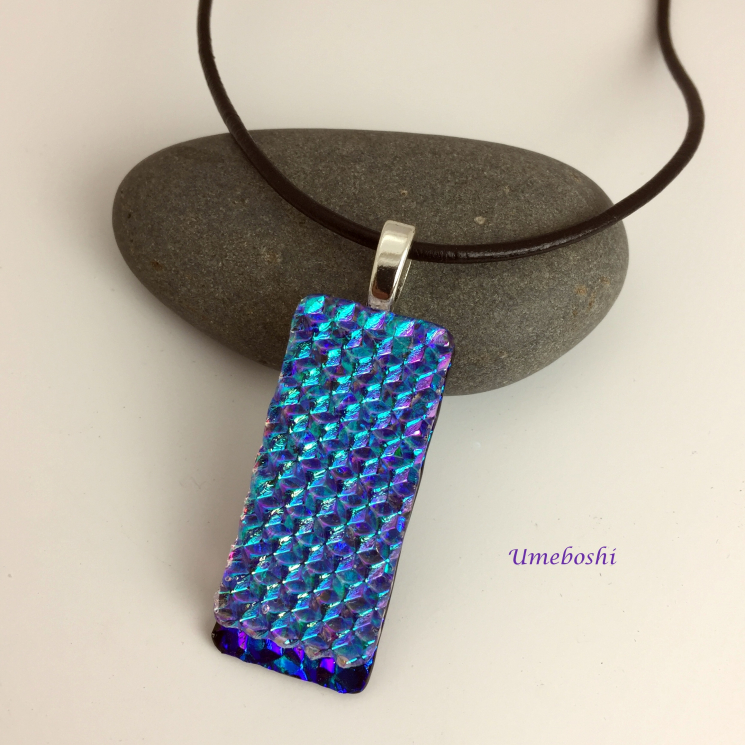 Unique dichroic glass jewelry pendant in Caribbean blue