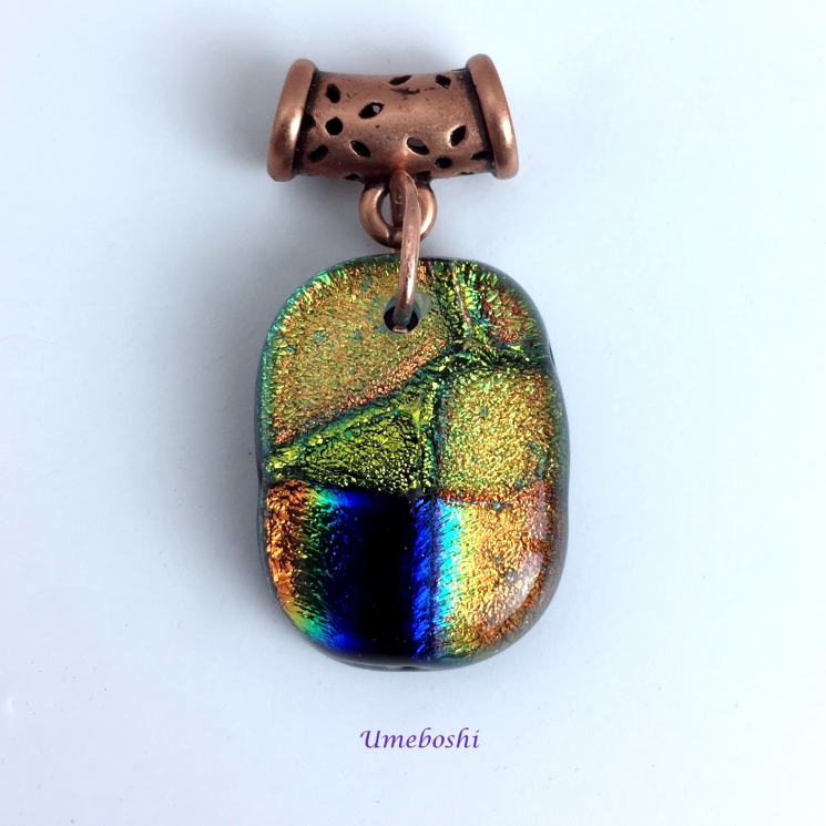 Touch of Midnight Dichroic Glass Gold and Blue Pendant with Copper Flower Tube B