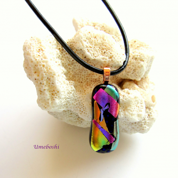 Unique Handcrafted dichroic fused glass multicolored pendant