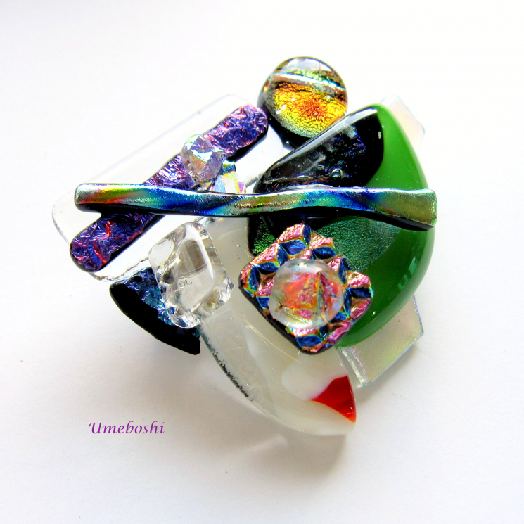 Artsy Handcrafted Dichroic Fused Glass Brooch Multicolored
