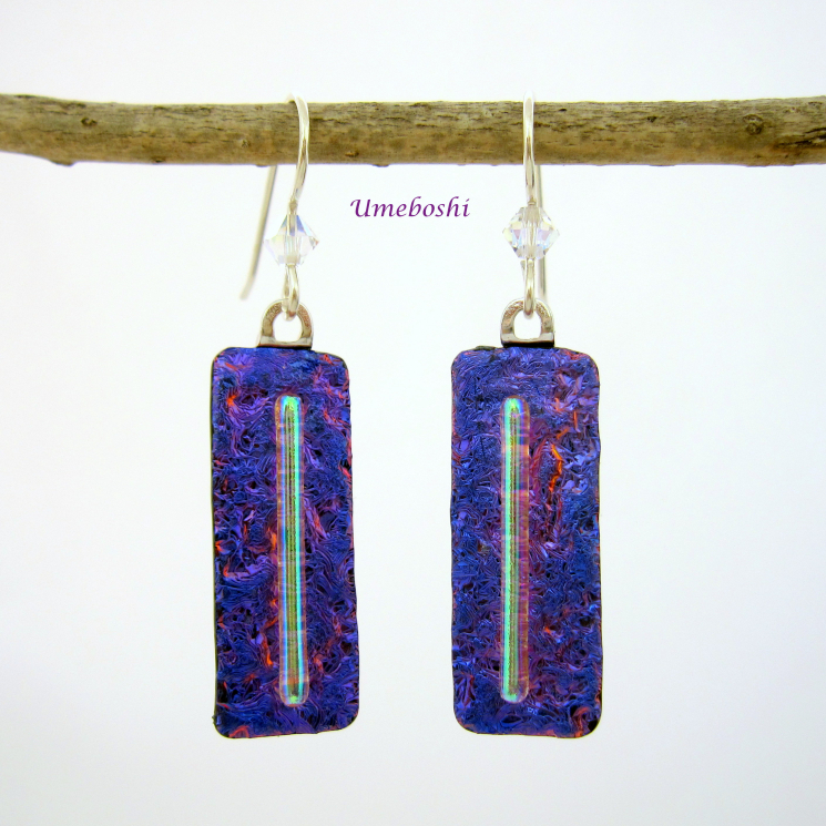 Handmade Long Dangle Earrings of Purple Dichroic Glass