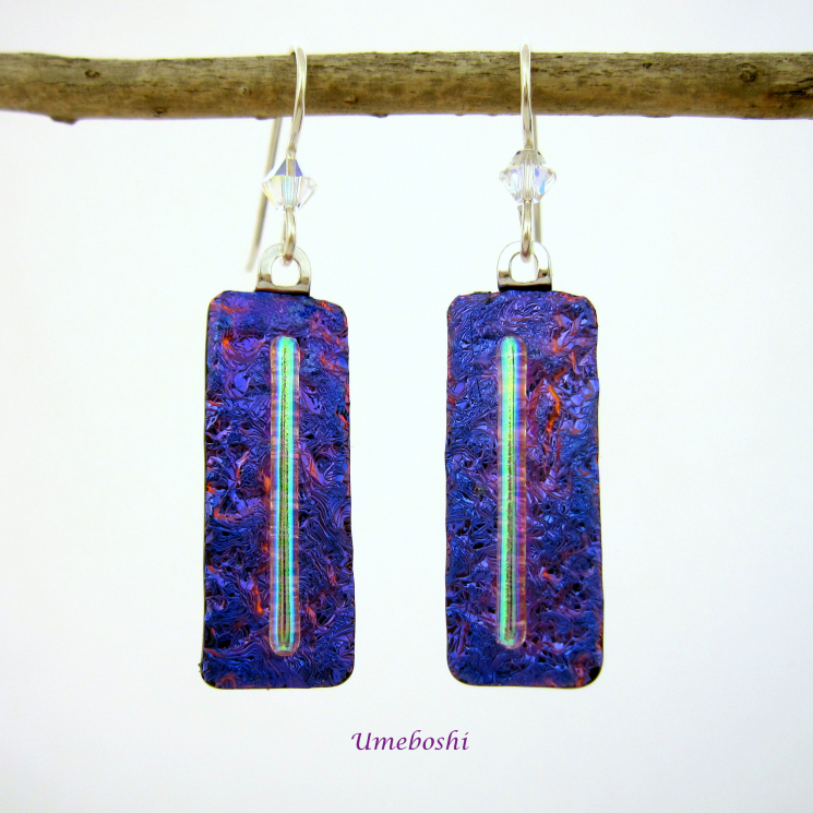 Fun Dangle Earrings Dichroic Purple Glass Sterling Silver Ear Wires