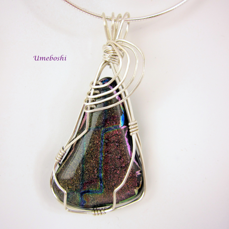 Silver Wire Wrapped Jewelry Pendant Dichroic Glass