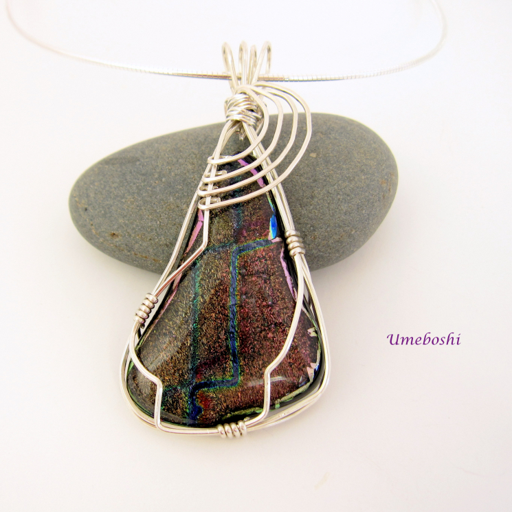 Handmade Dichroic Fused Glass Wire Wrapped Pendant
