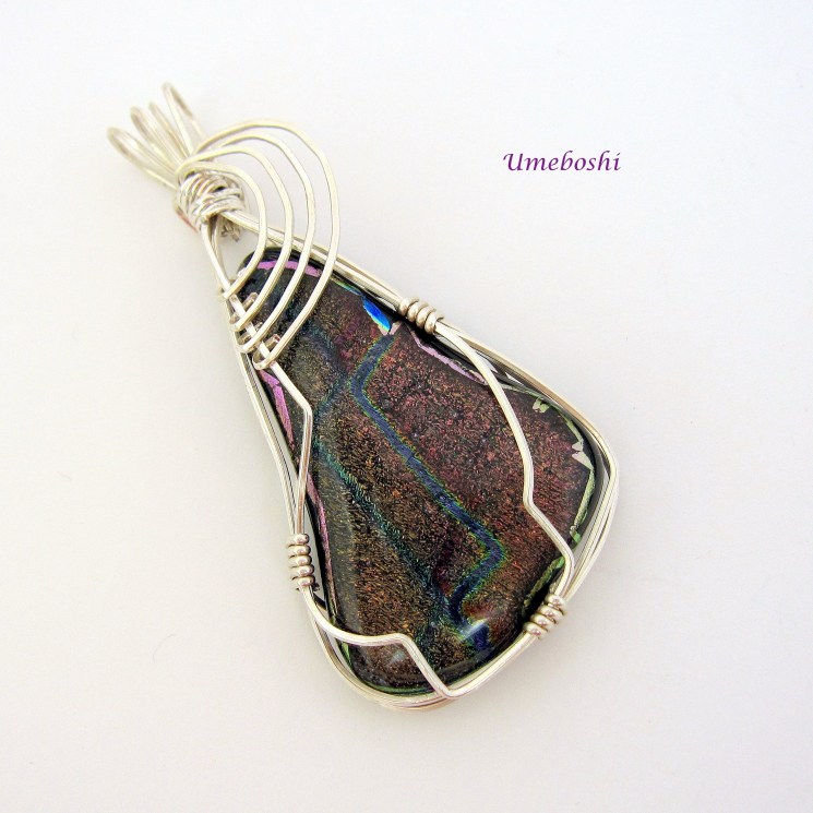Pendant of a Million Stars Dichroic Glass Silver Wire Wrapped Cabochon