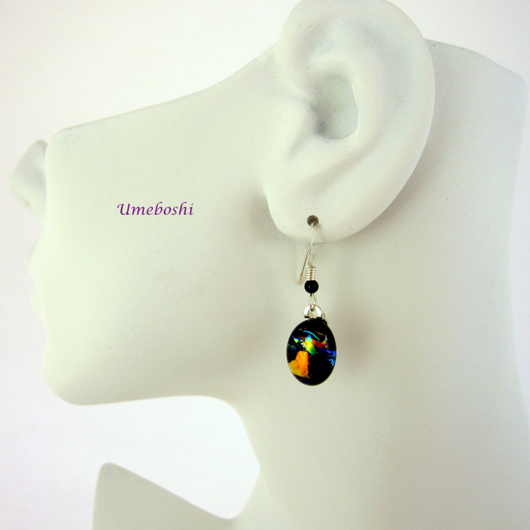 Dichroic Glass Drop Earrings w Sterling Silver Ear Wires