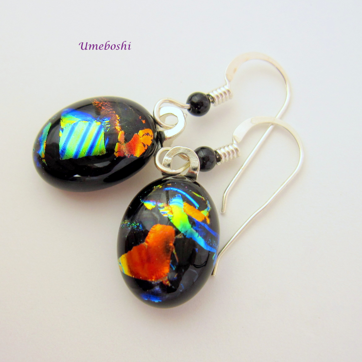 Colorful Dichroic Glass Dangling Earrings Handmade