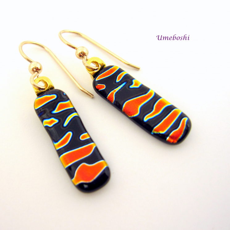 Orange and Black Fused Glass Dangle Earrings by Umeboshi Jewelry Designs