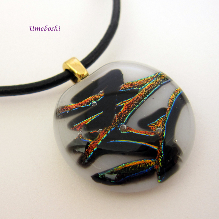 Nature's Kanji Dichroic Fused Glass Cabochon Pendant, White, Black, Copper Red N
