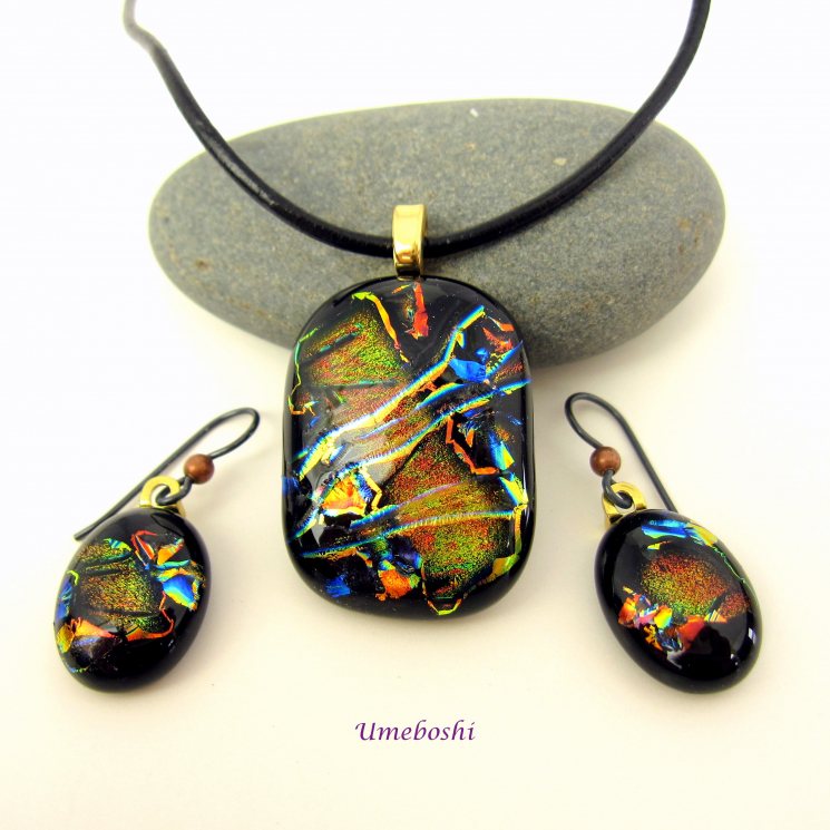 Handmade Dichroic Fused Glass Jewelry Set