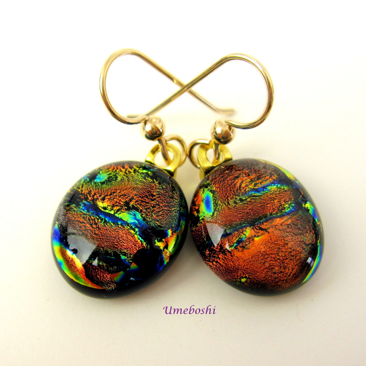 Copper Beauties Dichroic Fused Glass Dangle Earrings by Jo of Umeboshi Jewelry Designs