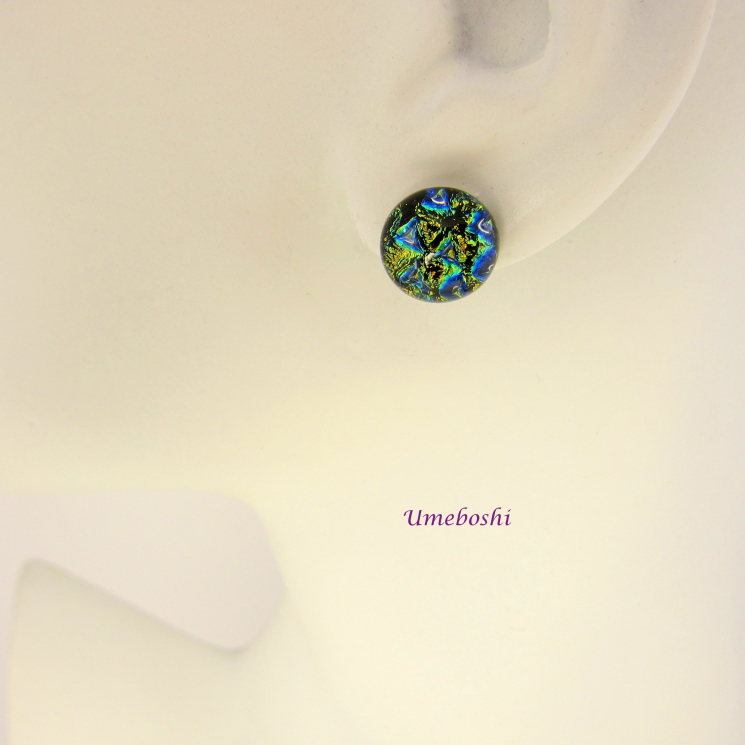 Brilliant Blue Dichroic glass Round Stud Earrings