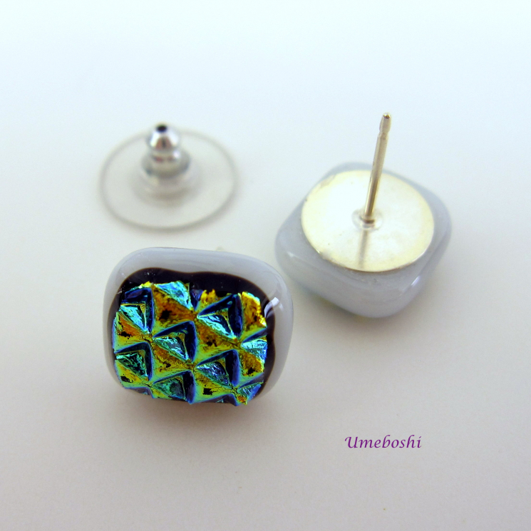 Textured Dichroic Fused Glass Stud Earrings