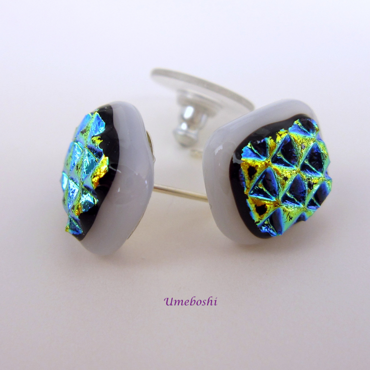 Textured Dichroic Fused Glass Cabochon Stud Earrings