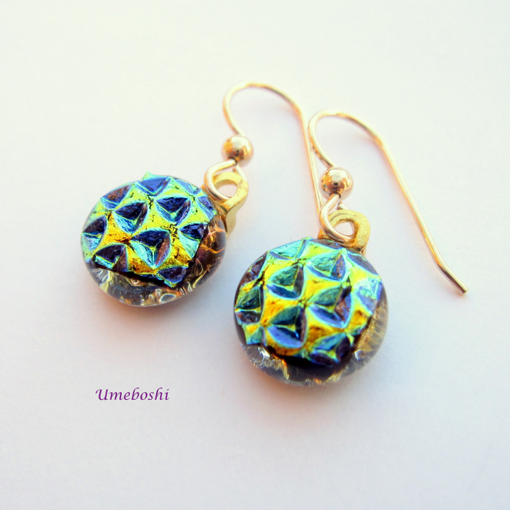 Handcrafted Dichroic Glass Drop Earrings with Gold Filled Ear Wires
