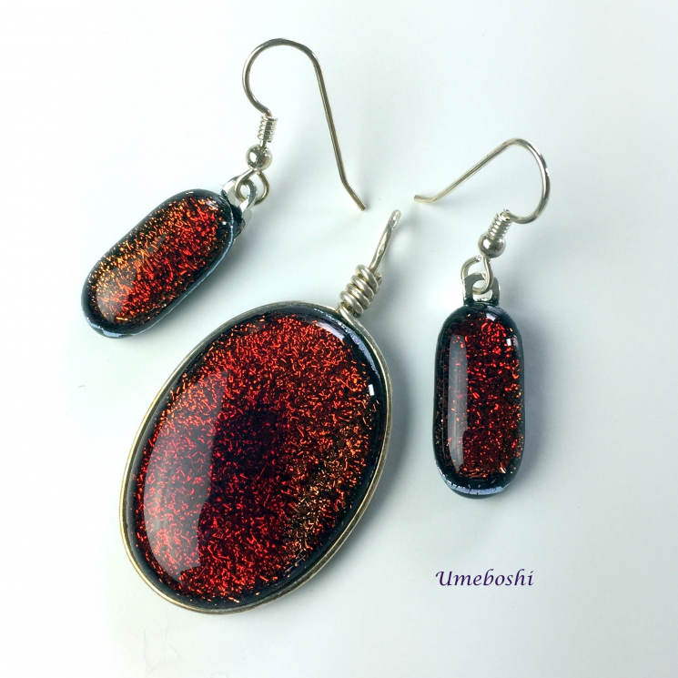 Red Dichroic Glass Sparkling Pendant and Earrings