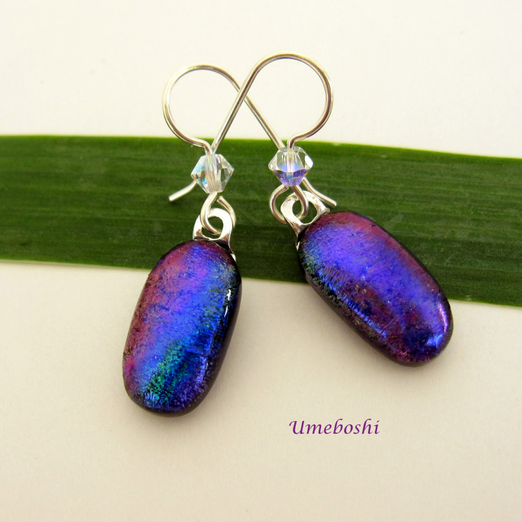 Blue, Purple, Green and Mauve Dichroic Earrings