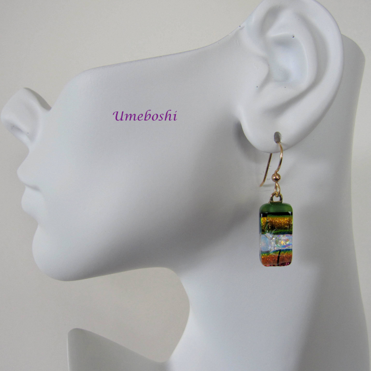 Dichroic glass dangle earrings Umeboshi Jewelry