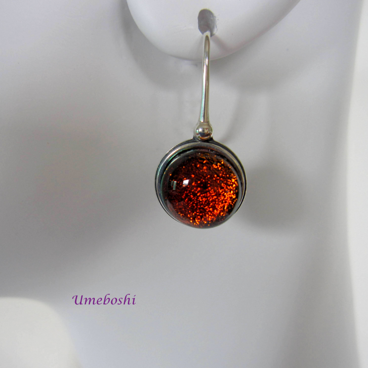 Brilliant Dichroic Glass Cabochon Earrings Blood Orange