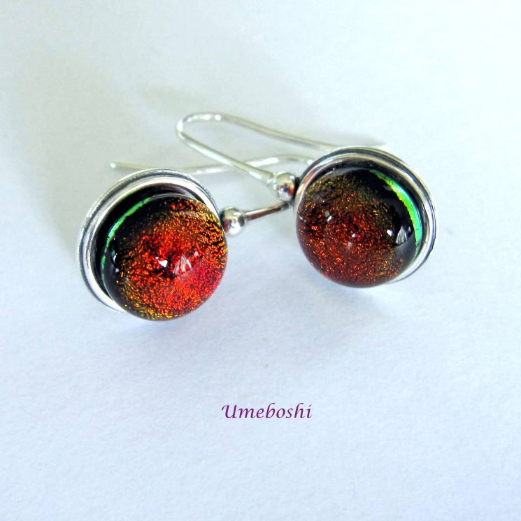 Smooth Dichroic Cabochons with Silver Earring Setting