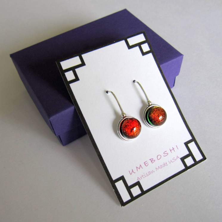 Handmade Dichroic Glass Earrings by Umeboshi Jewelry Designs