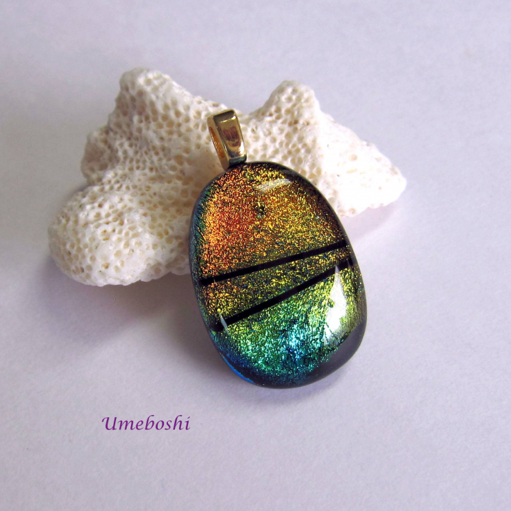 Convergence Handmade Dichroic Glass Cabochon Pendant Multi-colored