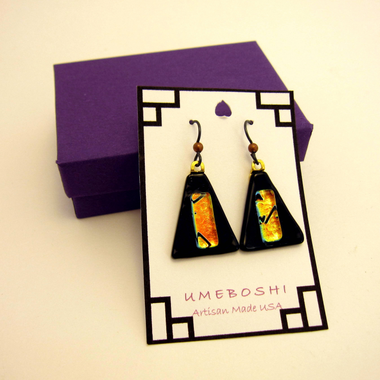 Evening Fire Handmade Dichroic Fused Glass Triangular Dangle Earrings