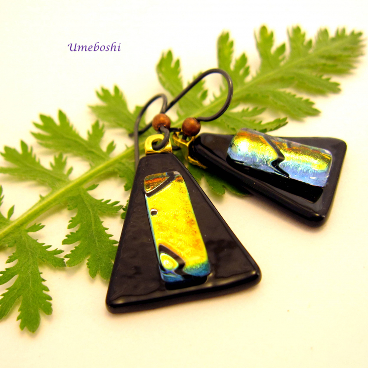 Black and gold dichroic fused glass dangle earrings