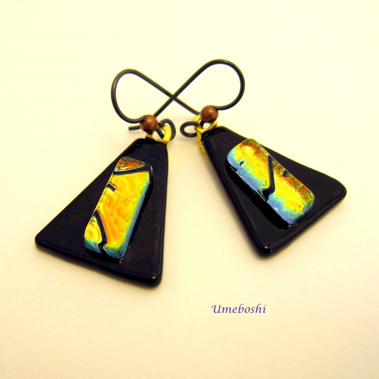 Black and gold dichroic glass earrings