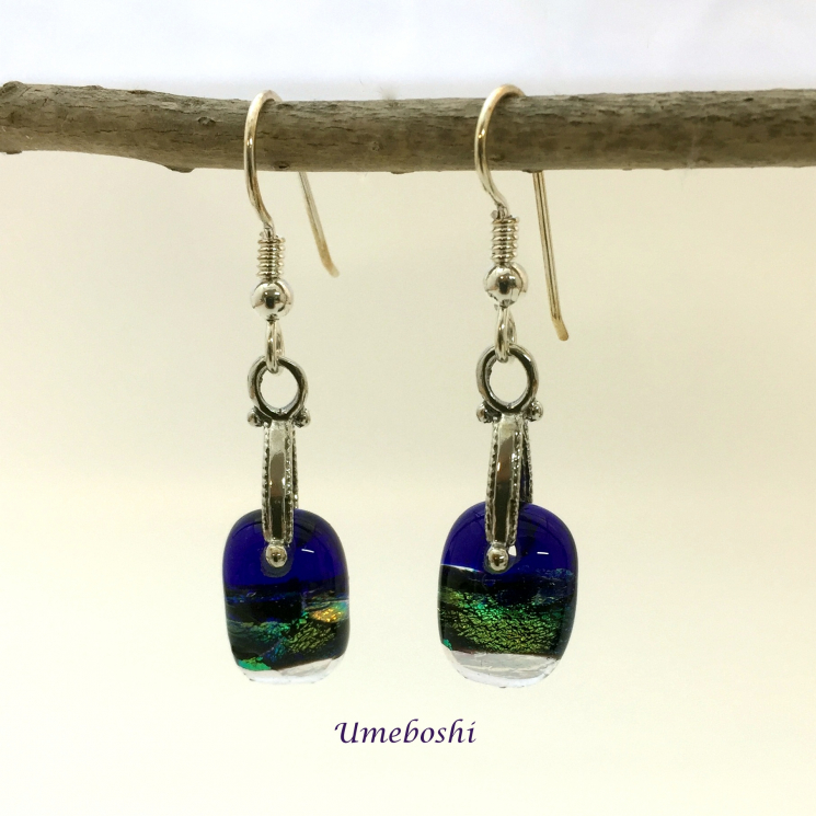 Petite dichroic fused glass dangle earrings