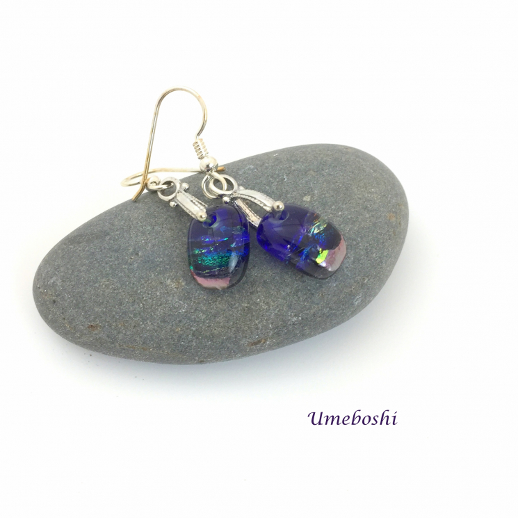 Small dichroic glass dangle earrings