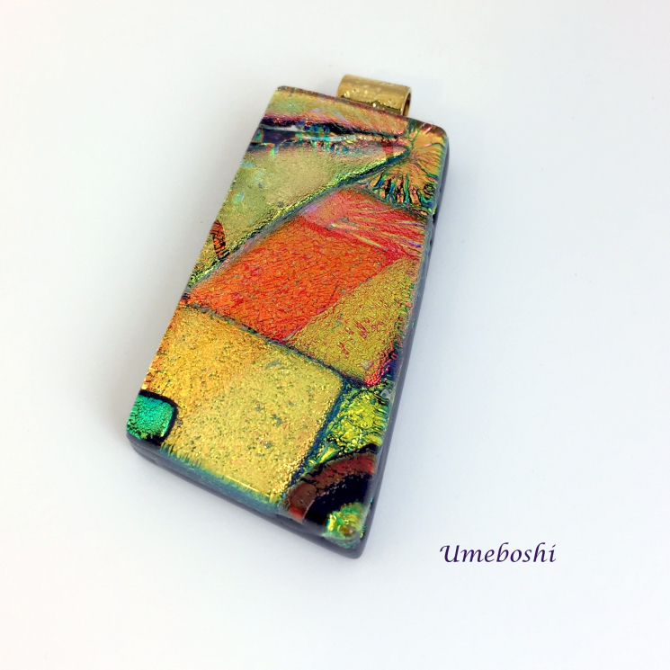 Unique orange and yellow dichroic glass pendant