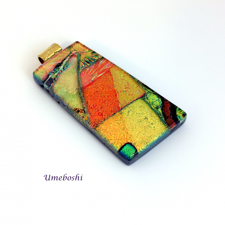 Brilliant dichroic glass pendant by Umeboshi