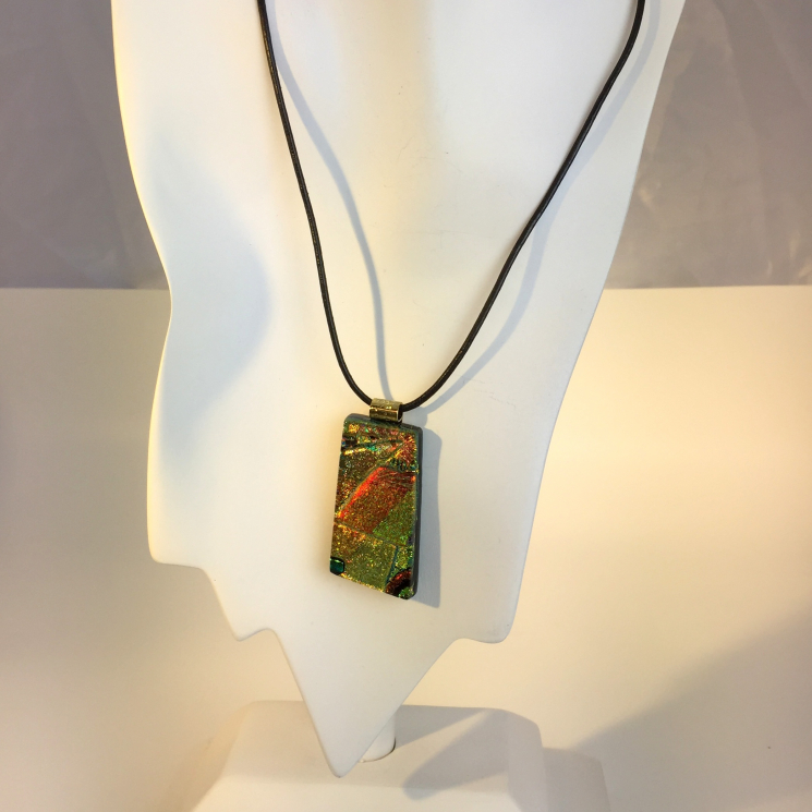 Large dichroic glass necklace