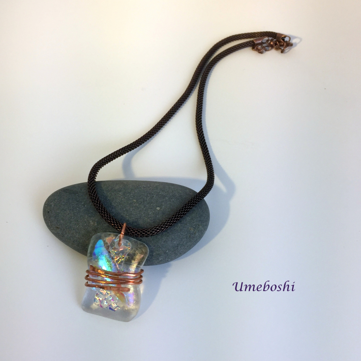 Handmade dichroic glass necklace w copper wire wrapping
