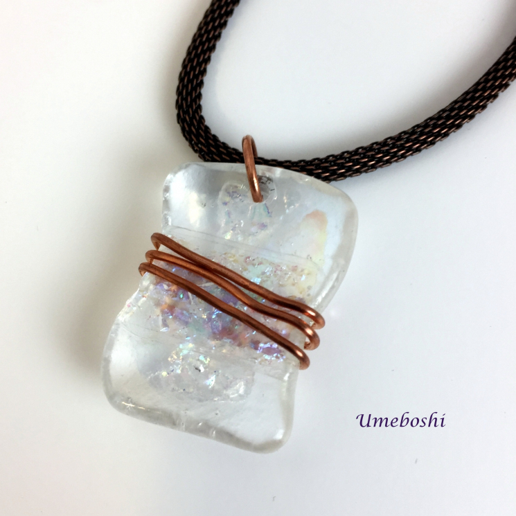 Copper Wire Wrapped Dichroic Necklace